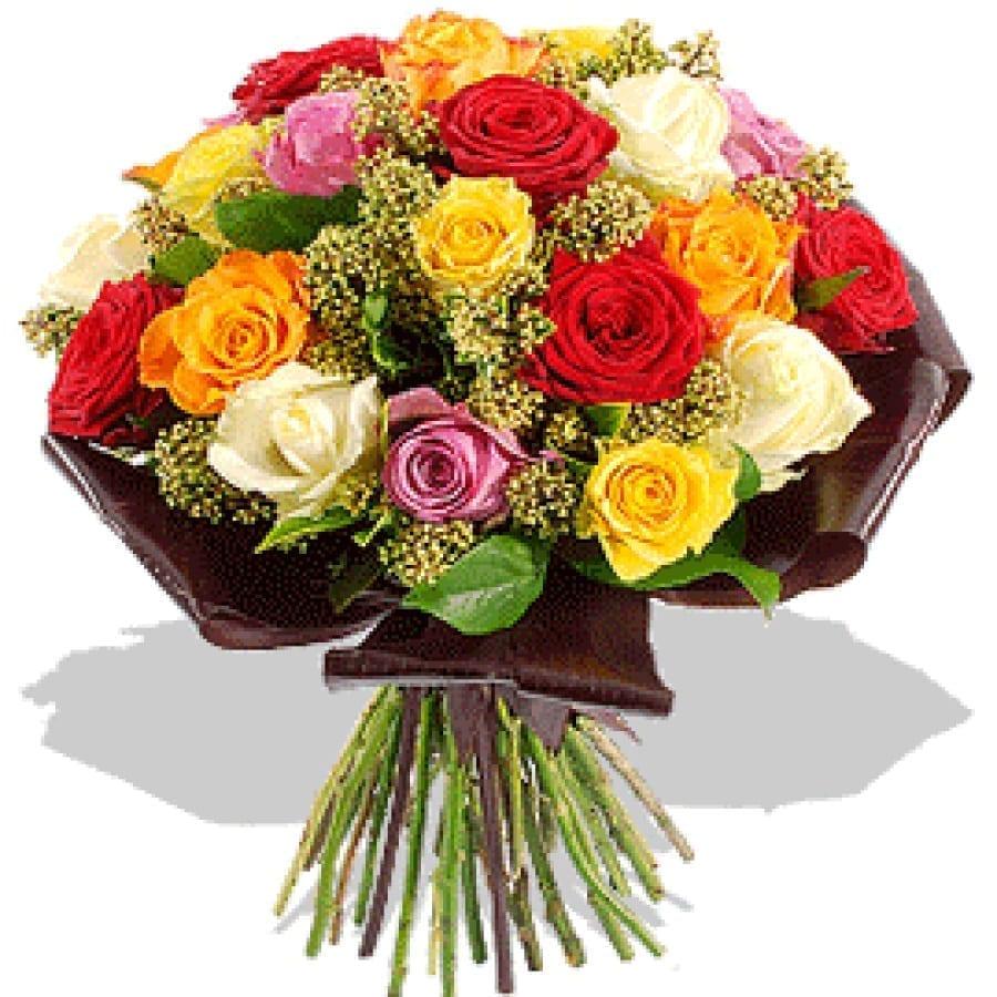 Bouquet de Rosas multicor com Folhas de cha preto